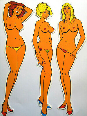 Rare Lot of 3 Vintage Sexy Pin Up Giant Sticker 29 cm - Old Stock