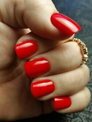 20 FERRARI RED Short Squoval Square Nails Press On Fake Faux False Classic Style
