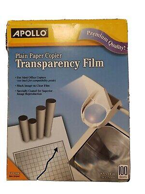 Apollo Transparency Film Plain Paper Copier Black On Clear Sheet 100 Sheets