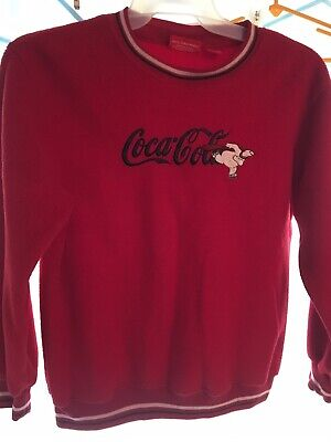 Vintage Coca Cola Red Christmas Embroidered Fleece Sweatshirt PolarBear Adult XL