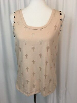 Studded Trim Tank (Express Womens Tank Top Tee T Shirt Blush Sheer Crosses Studded Trim Size M )