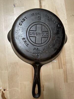 Vintage Griswold Skillet Cast Iron Pan # 5 Large Block Logo