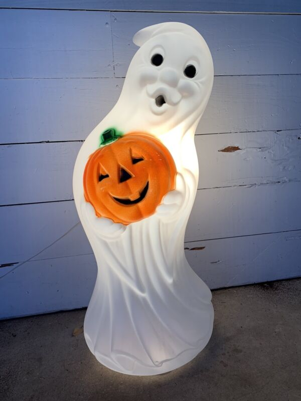"""Vintage Halloween Blow Mold Ghost with Pumpkin Lighted Plastic 33"""""""