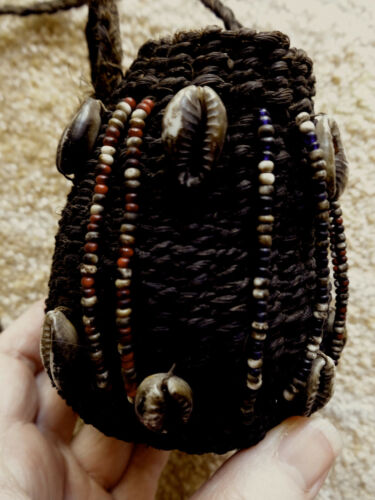 Nigerian Hausa Coiled Basket Bag Cowrie Shells & Beads, African Vintage Purse