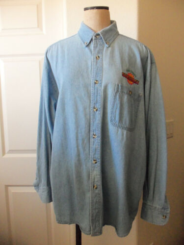 LA Loving Blue Cotton Denim Long Sleeve CLUB DENARO SUNCOAST CASINO Shirt - XL