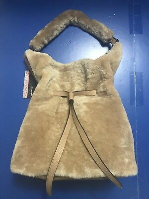 DIMONI NEW LEATHER WITH WOOL, SHEPP LEATHER SHOULDER BAG IN CAMEL MODEL# X096