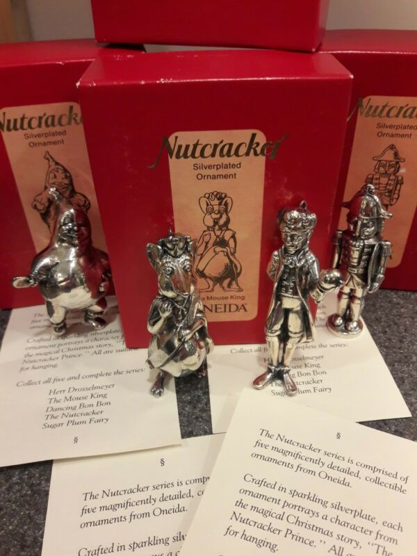 Vintage Oneida Nutcracker Series Christmas Ornaments Silverplated