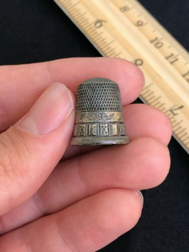 Antique Vintage Simons Brothers Bros Sterling Silver Sewing Thimble Shield #9
