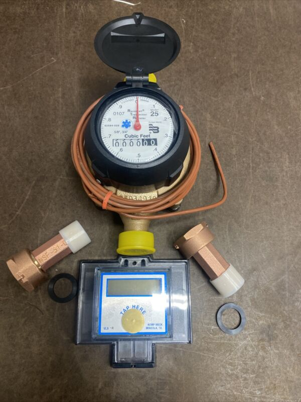 Badger 5/8x3/4 M25 Brass Water Meter RTR Cubic Feet Register With Digital Remote