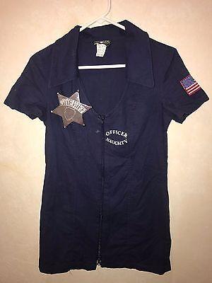womens dark blue OFFICER NAUGHTY HALLOWEEN COSTUME DRESS BADGE medium CHARADES @ - Officer Naughty Costume