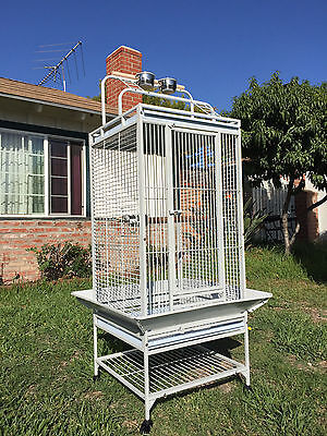 "60"" NEW Double Ladders Open Play Top Wrought Iron Parrot Macaw Bird Cage 628"