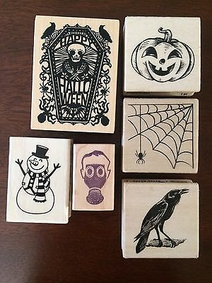 Halloween Christmas Crow Gas Mask Spider Pumpkin Mounted Rubber Stamp Lot of 6