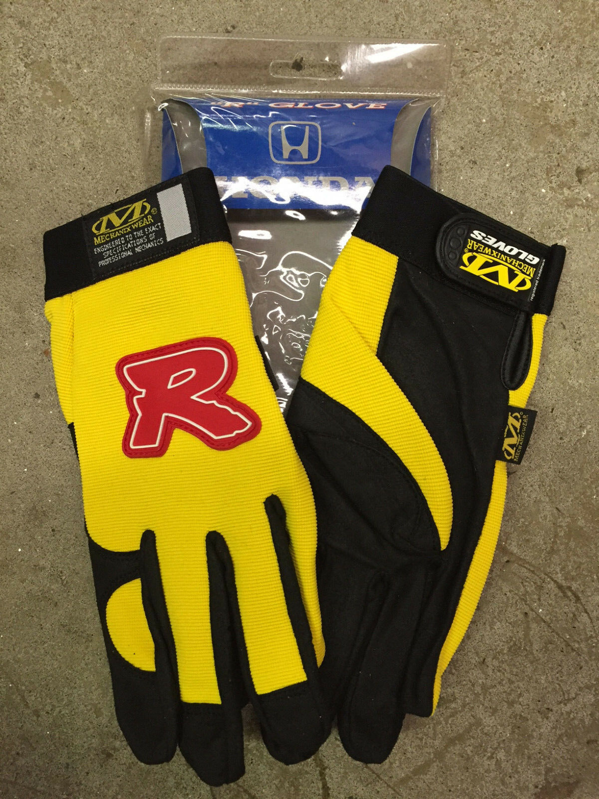 Genuine OEM Honda Type R Mechanics Gloves Yellow XL - Pair Mechanix
