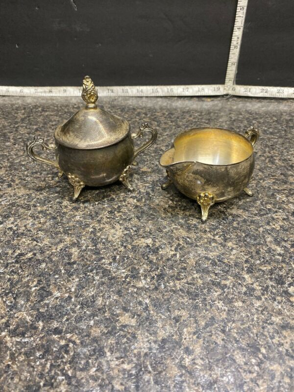 International Silver Co.Silver Plated  Floral Footed Sugar Bowl & Creamer.