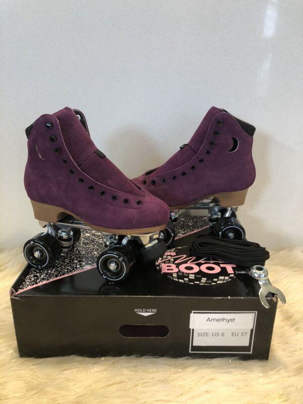 Moonlight Roller Moon Boot Amethyst Purple Suede Skates Size 6 (Women's 7-7.5)