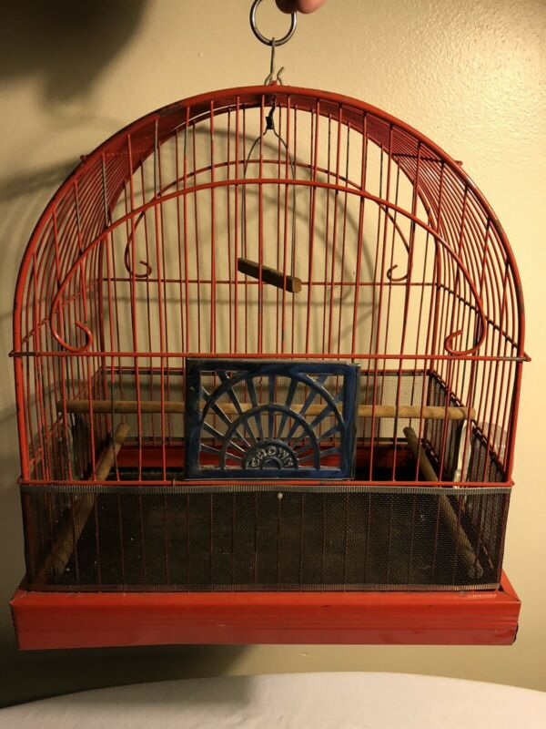 Vintage CROWN Bird Cage Metal Original Beautiful Red Paint
