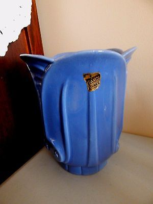 Stangl Capital Vase Blue Glaze Vase  2066   8  Orig Label 1936 Only