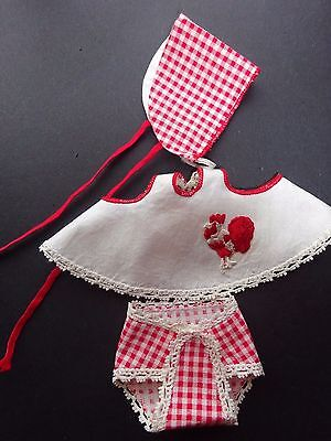 Vintage Vogue Ginnette Doll Outfit, Red Checked Hat & Diaper #2313 - EXC Looks g
