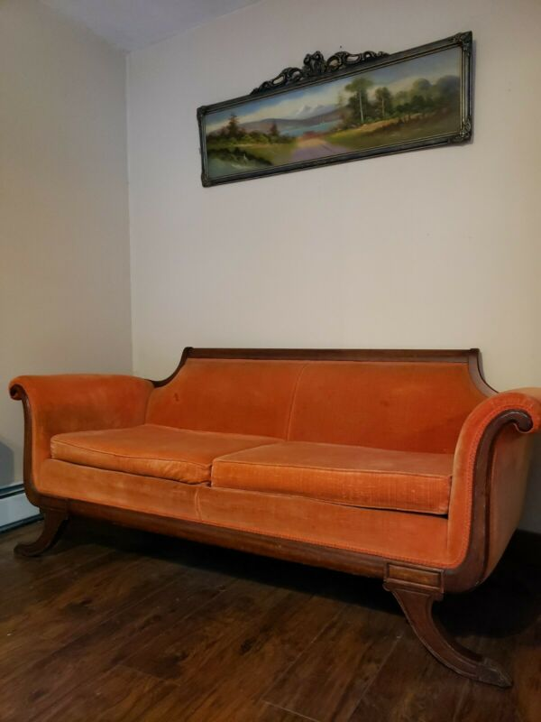 Vintage Duncan Phyfe Sofa Claw Foot Orange Velveteen