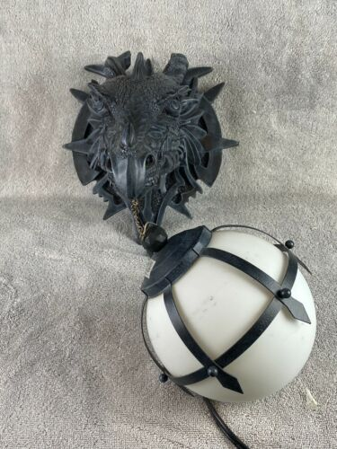 Gothic Marshgate Castle Dragon Sculptural Electric Wall Sconce Lamp CL2425