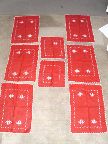 Swedish Holiday Yule Jul Christmas 6 Placemats 2 Small Vintage Hand Embroidered