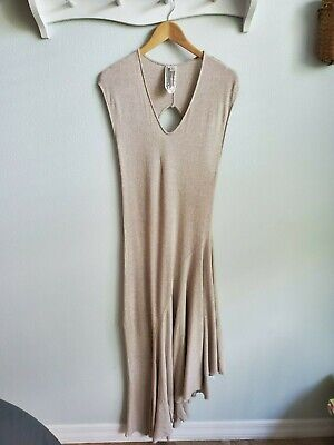 Free People We the Free beige with silver shimmer boho maxi dress XS