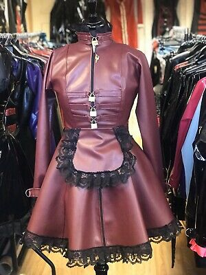 Misfitz burgundy leather look padlock Maids skater dress size 18 TV CD Steampunk