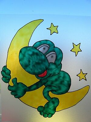 FROG ON MOON NURSERY WINDOW PAINT PICTURE DECORATION CLING