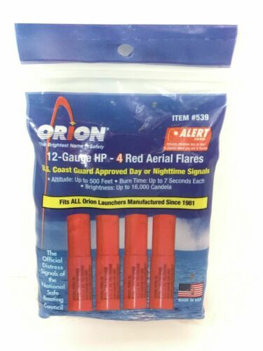 539 Orion 12 Gauge HP 4 Red Aerial Flares EXP 2024 BRAND NEW FREE SHIP E26