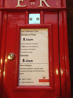 Royal Mail, post box collection information door insert & day marker