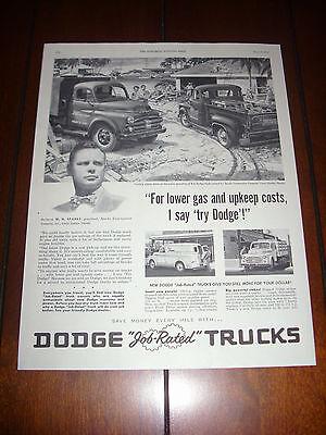 1953 DODGE TRUCK PICKUP PANEL STAKE  Original Vintage Ad
