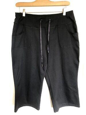 Zella Black Wide Leg Cropped Yoga Athletic Pants Drawstring Size 12