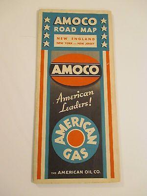 Vintage 1933 AMOCO NEW ENGLAND NY NJ Gas Service Station Road Map