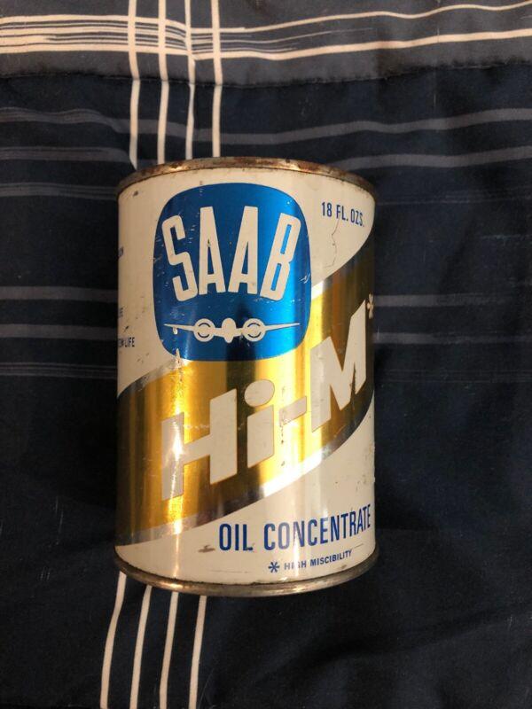 Vntg 1966 SAAB HI-M 2-CYCLE METAL OIL CAN w/ AIRPLANE LOGO 18 oz Full & Unopened