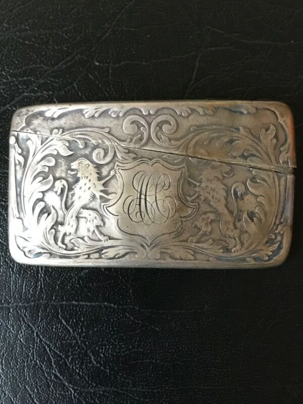 Antique Victorian Sterling Silver Card Holder,Thin Container,Hinged Lid,Lions