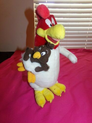 Warner Bros Studio Store 1995 Foghorn Leghorn with Chicken Hawk 16 inch Plush.