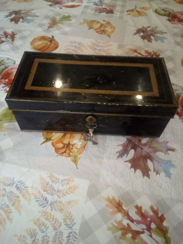 Antique Metal Hand Painted Documents Safety Deposit Cash Lock Box w Key