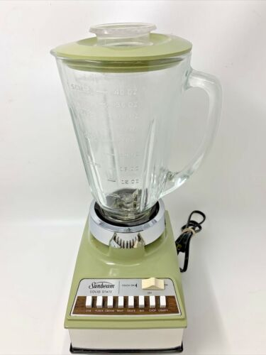 Vintage Sunbeam Avocado Green 8 Speed Blender with touch on (Pulse) Model BL-V