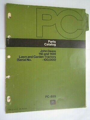 John Deere 110 110h Lawn Garden Tractor Parts Catalog Manual Pc-855