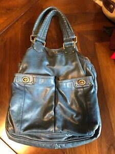 Authentic Marc Jacobs blue leather turnlock purse