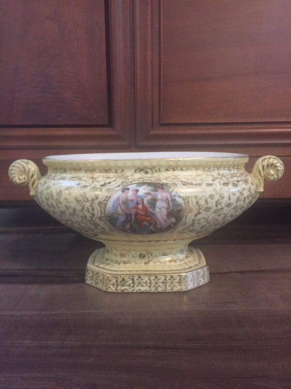 Beautiful Antique Victorian Hand Painted Gold Gilding Centerpiece Pedestal Bowl