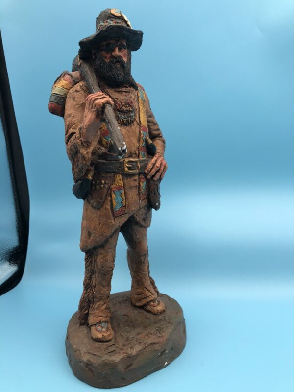 Michael Garman 1988 Mountain Man Figurine with Musket Backpack Bedroll, Signed