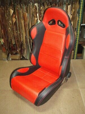 Sport Seat - Black with Red Center, Bolster Inserts & Stitching // FITS ANY CAR
