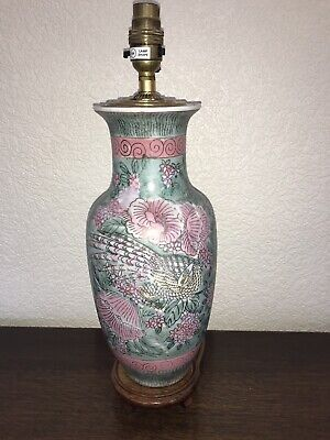 Vintage Chinese Ceramic Table Lamp Pink And Green