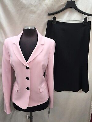 - LESUIT SKIRT SUIT/PINK/BLACK/size 12/NEW WITH TAG/retail$200/LINED/SKIRT 25'/