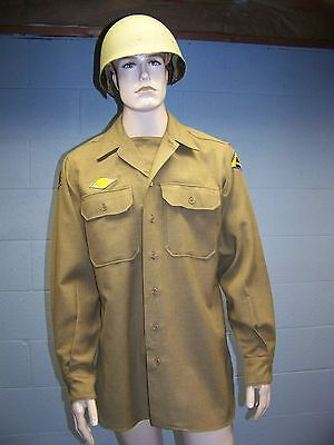 WWII U.S. Army Wool Shirt with Gas Flap and Dated