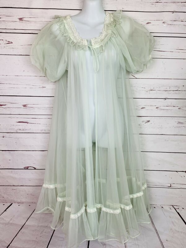 Vintage Lisette Balloon Sleeve Mint Green Lingerie Chiffon Robe Small