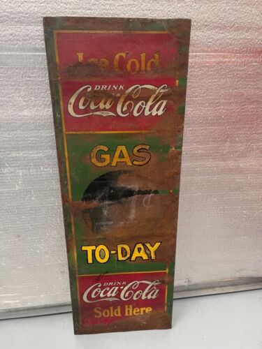 "1930's Coca-Cola COKE 55"" Tin Gas Station Chalkboard Gas Price Sign"