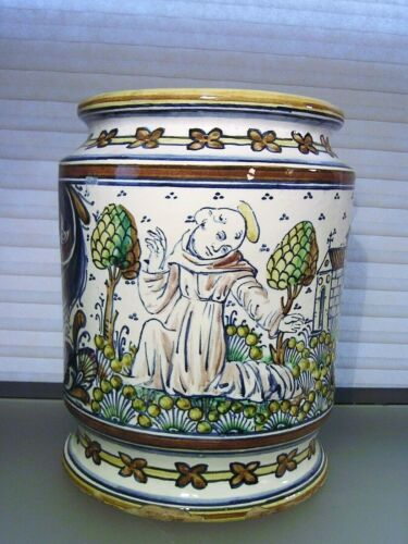 Antique Italian Majolica Pot Albarello by Minghetti Signed