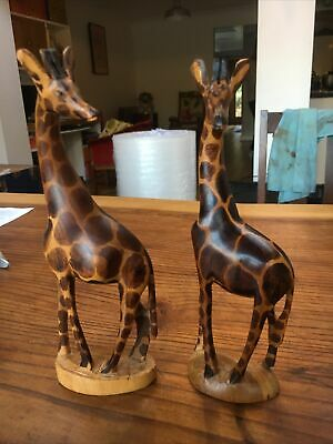 Pair Of Vintage Hand Carved Wooden Giraffe